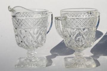 vintage Imperial Cape Cod crystal clear glass cream & sugar set, water stem creamer open sugar bowl