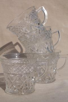 vintage Imperial Cape Cod crystal clear pressed pattern glass punch cups