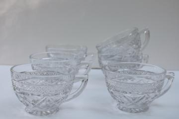 vintage Imperial Cape Cod pattern tea or punch cups, crystal clear pressed glass