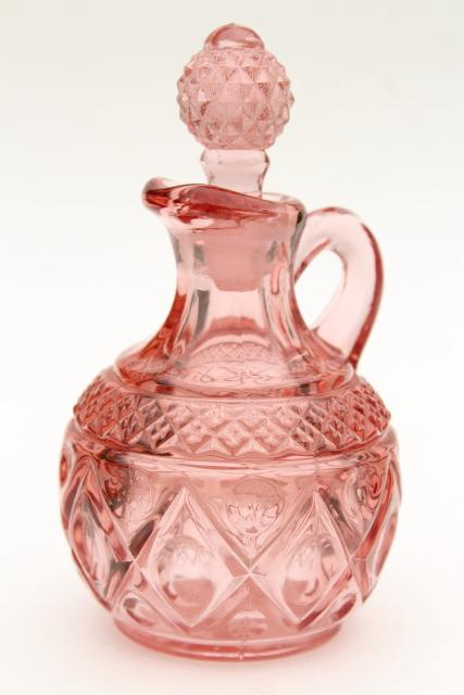 vintage Imperial Cape Cod pink pressed glass cruet, pitcher & stopper