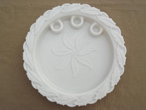 vintage Imperial Star Holly leaf milk glass candle tray centerpiece