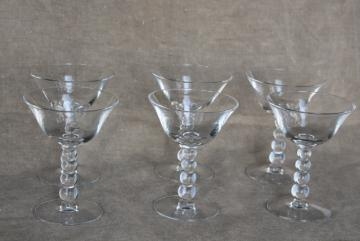 vintage Imperial candlewick crystal clear glass champagne glasses coupe saucer champagnes