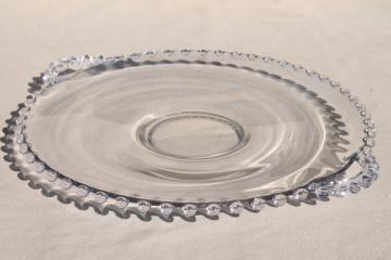 vintage Imperial candlewick glass cake plate, round platter or serving tray