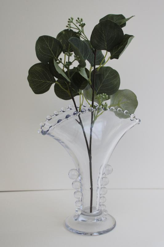 vintage Imperial candlewick pattern fan vase, crystal clear pressed glass