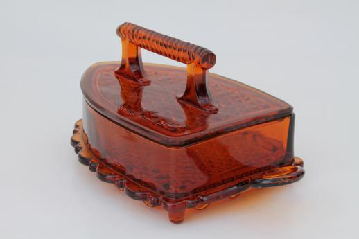 vintage Imperial glass flat iron figural covered dish, amber glass