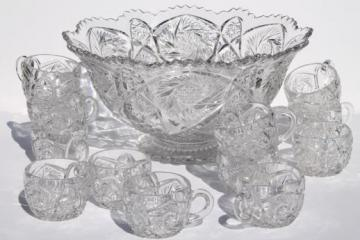 vintage Imperial glass punch set, Whirling Star pattern pressed glass in the style of cut glass