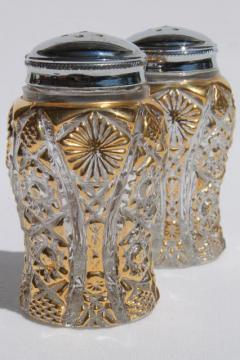 vintage Imperial glass star pattern S&P shakers, crystal clear & gold