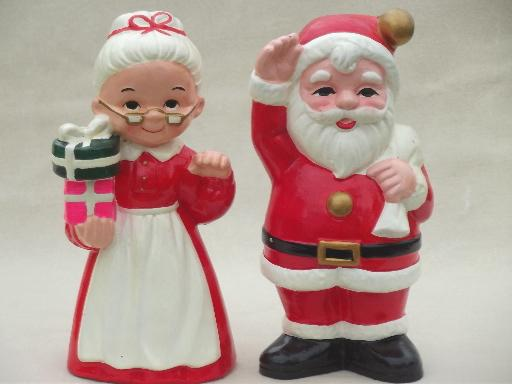 vintage inarco ceramic christmas decorations large santa mrs claus - Christmas Decorations Large Santa Claus