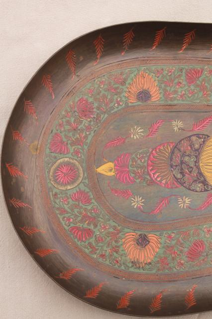 Vintage India Brass Serving Tray Etched Metal W Hand