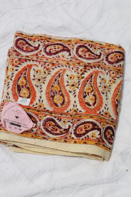 Vintage Indian Block Print Cotton Fabric Bedspread W