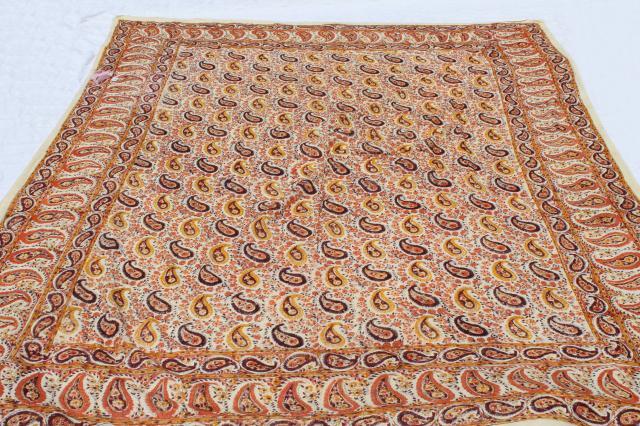 Vintage Indian Block Print Cotton Fabric Bedspread W Original Label Boho Hippie Retro