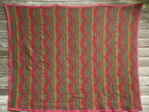 vintage Indian style camp blanket, wool / rayon with cotton binding
