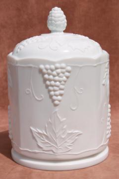 vintage Indiana / Colony harvest grapes milk glass canister or biscuit jar