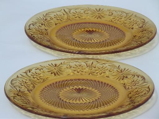 vintage Indiana amber daisy depression glass plates, cream soup, cream & sugar