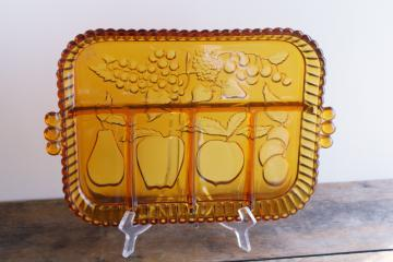 vintage Indiana carnival glass relish tray, marigold color fruit pattern