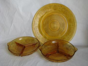 vintage Indiana daisy pattern glass, amber depression glassware, divided bowls & cake plate