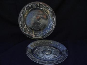 vintage Indiana daisy pattern glass, clear platter and cake plate