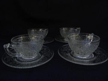 vintage Indiana daisy pattern glass, cups and saucers lot, 4 sets