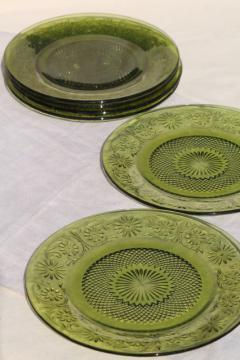 vintage Indiana daisy pattern glass dinner plates set of 6, avocado green glassware
