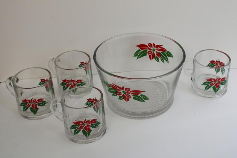 vintage Indiana glass Christmas poinsettia snack bowl & cocoa mugs, or punch set