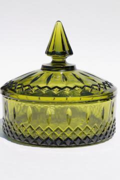 vintage Indiana glass Princess candy dish, retro avocado green glassware