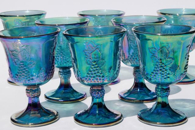 vintage Indiana glass blue carnival iridescent luster wine glasses, harvest grapes goblets
