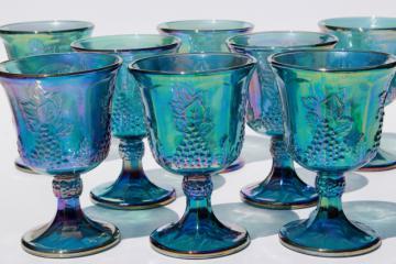 vintage Indiana glass blue carnival iridescent luster wine glasses, harvest grapes goblets
