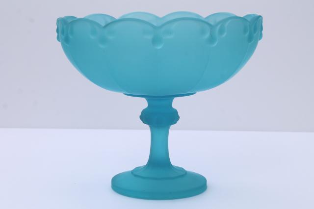 Vintage Indiana Glass Blue Mist Frosted Satin Glass Compote Tall Fruit Or Flowers Bowl