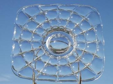 vintage Indiana glass cake stand, constellation square low plate w/ foot