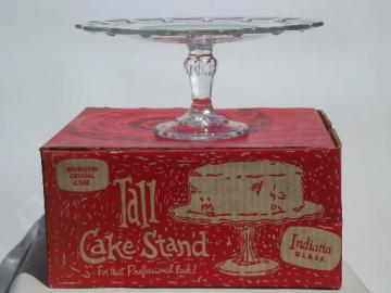 vintage Indiana glass cake stand in original red and white box
