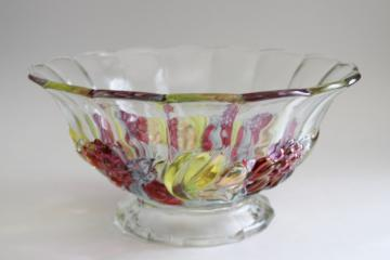 vintage Indiana glass clear bowl w/ colored luster banana fruit garland pattern