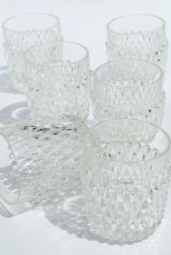 vintage Indiana glass diamond point pattern tumblers, old fashioned lowballs rocks glasses