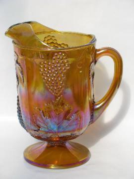 vintage Indiana glass, harvest grapes amber carnival luster pitcher