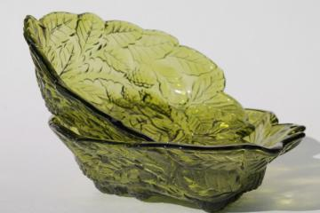 vintage Indiana glass loganberry pattern glass bowls, avocado green glass bowls w/ blackberries