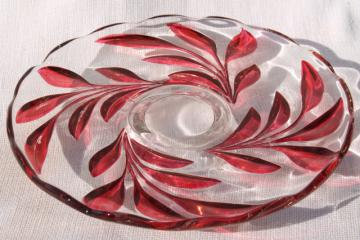 vintage Indiana glass ruby red flash cake plate, oleander willow pattern