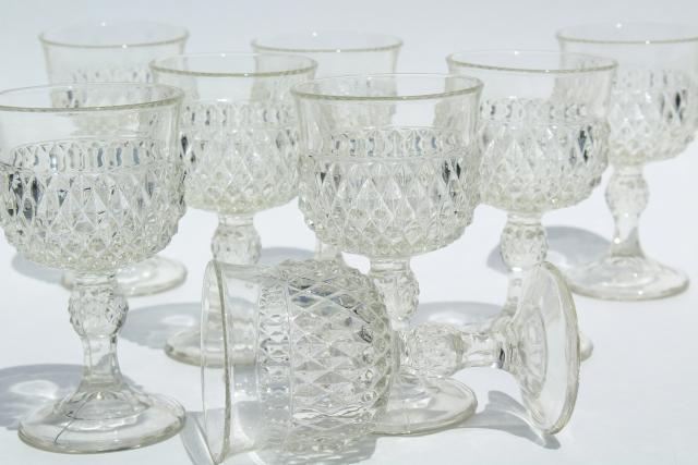 vintage Indiana glass wine or water glasses, crystal clear diamond point goblets