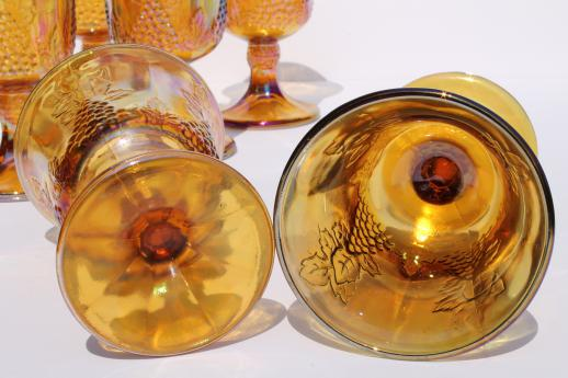 Vintage Indiana Golden Harvest Gold Carnival Glass Wine