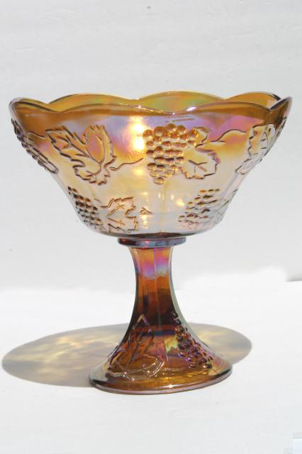 vintage Indiana golden harvest grapes pattern carnival glass compote bowl