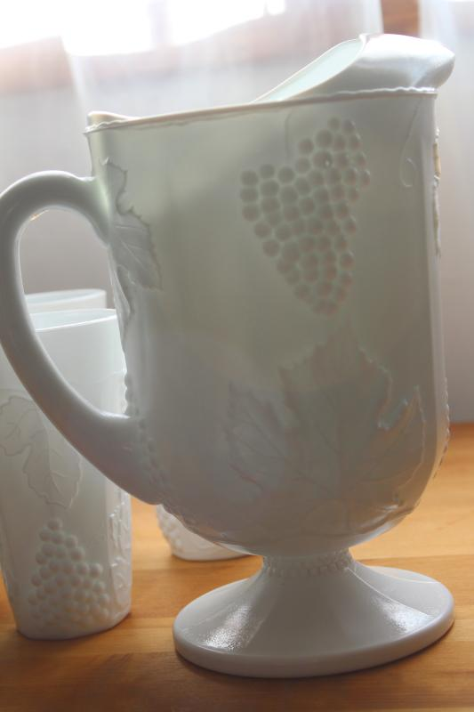 vintage Indiana grapes milk glass pitcher and tumblers, lemonade set w/ six glasses