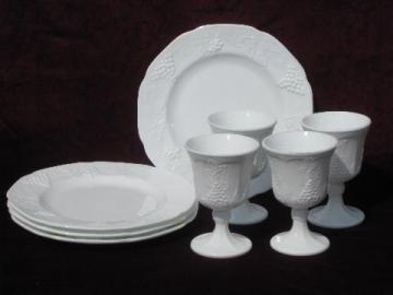 vintage Indiana harvest grapes milk glass plates and goblet water glasses