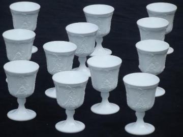 vintage Indiana harvest grapes milk glass wine goblets or water glasses