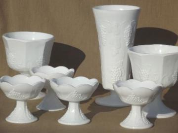 vintage Indiana milk glass florist lot flower vases bowls & candle holders