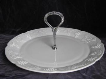 vintage Indiana milk glass harvest grapes pattern, large cake or sandwich plate w/ center handle