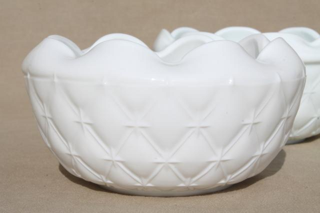 vintage Indiana quilt milk glass, quilted diamond duette compotes & bowl vases
