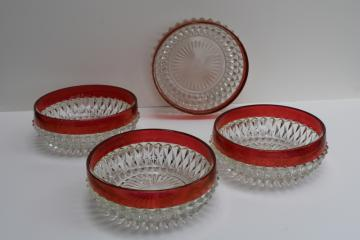 vintage Indiana ruby band diamond point glass bowls, flashed stained ruby color