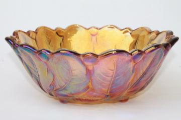 vintage Indiana wild rose bowl, sunflower marigold amber iridescent luster carnival glass