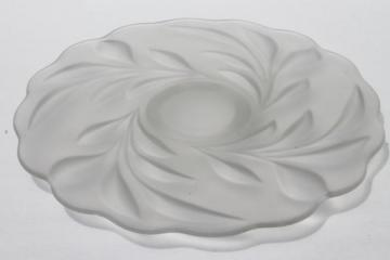 vintage Indiana willow satin frosted glass torte cake plate w/ low foot stand