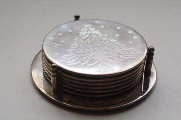 vintage International Silver silverplate coasters set w/ etched Christmas tree