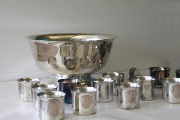 vintage International silver plate punch bowl set, julep glasses or cups, ladle
