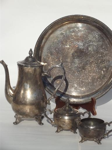 vintage International silver plate tea or coffee set w/ pot tray etc. : silver plated tea and coffee set - pezcame.com